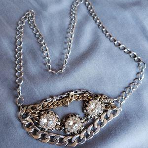 Mixed metal gem statement necklace